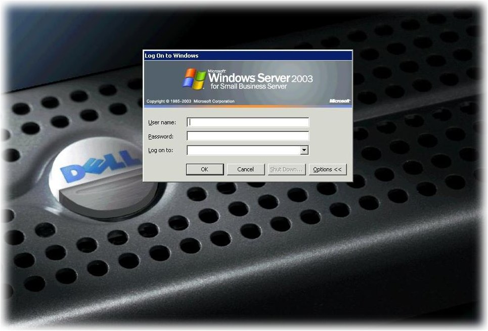 Server Login Screen.  Emend provides technical support and maintenance for Microsoft based servers and local area networks in the San Fernando Valley, New York, and Washington.